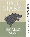 redraw of house stark heraldic... | Shutterstock .eps vector #594745724