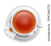 cup of black tea on saucer with ... | Shutterstock .eps vector #594746273