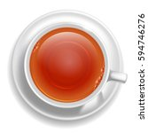 white cup of black tea on... | Shutterstock .eps vector #594746276