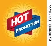 hot promotion arrow tag sign. | Shutterstock .eps vector #594746900