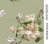 hand painting peonies and... | Shutterstock . vector #594750539