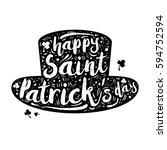 black silhouette patrick hat on ... | Shutterstock .eps vector #594752594