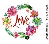 wildflower succulentus flower... | Shutterstock . vector #594756026