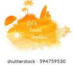 abstract painted splash shape... | Shutterstock .eps vector #594759530