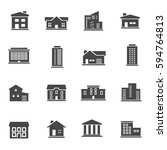 vector black buildings icons... | Shutterstock .eps vector #594764813
