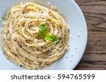cacio e pepe   spaghetti with... | Shutterstock . vector #594765599