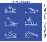 vector sneakers shoes  running  ... | Shutterstock .eps vector #594768779