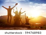 group of happy friends sits... | Shutterstock . vector #594768983