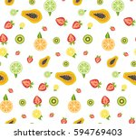 colorful tropical fruits and... | Shutterstock .eps vector #594769403