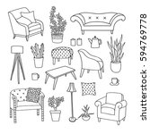 vector set of the living room... | Shutterstock .eps vector #594769778