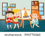 children drawing on canvas in... | Shutterstock .eps vector #594770360
