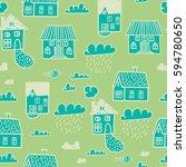 spring town. seamless vector... | Shutterstock .eps vector #594780650
