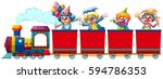 clowns riding on train... | Shutterstock .eps vector #594786353