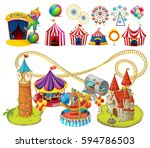 circus rides and tents... | Shutterstock .eps vector #594786503