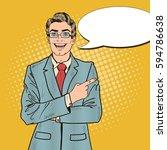 pop art handsome businessman... | Shutterstock .eps vector #594786638
