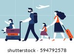 parents with children are going ...   Shutterstock .eps vector #594792578