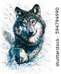 wolf watercolor animals... | Shutterstock . vector #594794990
