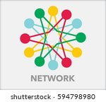 network with interconnected... | Shutterstock .eps vector #594798980