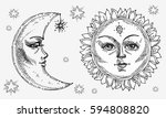 sun and moon with face stylized ... | Shutterstock .eps vector #594808820