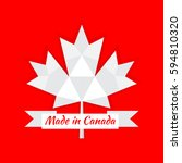 made in canada banner  flag red ... | Shutterstock .eps vector #594810320