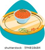 bowl with red caviar on golden... | Shutterstock .eps vector #594818684