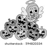 halloween and jack o lanterns... | Shutterstock .eps vector #594820334