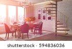 interior dining area. 3d... | Shutterstock . vector #594836036