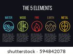 5 elements of nature circle line icon sign. Water, Wood, Fire, Earth, Metal. on dark background. | Shutterstock vector #594842078