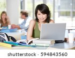 asian students reading and... | Shutterstock . vector #594843560