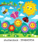 happy flowers topic image 3  ... | Shutterstock .eps vector #594845954
