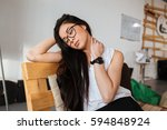 tired exhausted asian young... | Shutterstock . vector #594848924