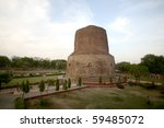 Dhamekh Stupa in Sarnath, Varanasi, India  - stock photo