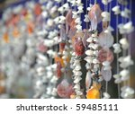 colourful shell curtain - stock photo
