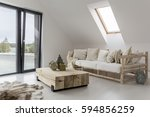 spacious interior of a house at ... | Shutterstock . vector #594856259