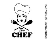 Woman Chef. Beautiful Cook Wit...