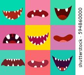 set of cute monster mouth.... | Shutterstock .eps vector #594860000
