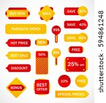 vector stickers  price tag ... | Shutterstock .eps vector #594861248