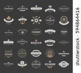 vintage logos design templates... | Shutterstock .eps vector #594864416