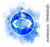 ajna chakra symbol | Shutterstock . vector #594866030