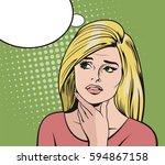 pop art woman  blonde woman...   Shutterstock .eps vector #594867158
