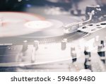 party dj turn table vinyl... | Shutterstock . vector #594869480