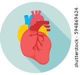 human heart vector icon | Shutterstock .eps vector #594869624