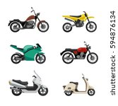 Motorcycles And Scooters Icons...