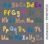 hand drawn alphabet. brush... | Shutterstock . vector #594876914