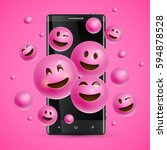 realistic happy pink emoticons... | Shutterstock .eps vector #594878528