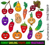 funny smiling fruits and... | Shutterstock .eps vector #594878849