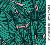 colorful tropical pattern with... | Shutterstock .eps vector #594879386