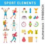 set sport and fitness athlete... | Shutterstock . vector #594880634