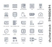 set  line icons with open path... | Shutterstock . vector #594880694