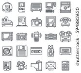 retro technology outline icon...